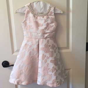 Pink floral dress with pearl detail